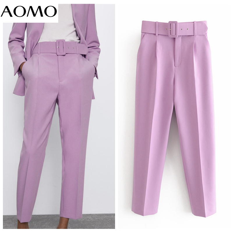 AOMO 2020 Female Work Purple Suit Pants High Waist Pants Sashes Pockets Office Ladies Pants Fashion Pants 6A22A