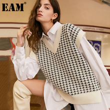 Camisin Plaid Knitted Womens Sweater Vest England Preppy Style Cute Y2K Clothes V Neck Casual 90S Knit Jumpers Knitwear S