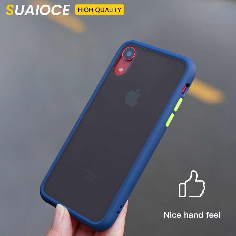 Suaioce caso armadura à prova de choque para iphone 11 pro x xs max xr caso transparente capa traseira para iphone 7 8 plus caso de silicone luxo