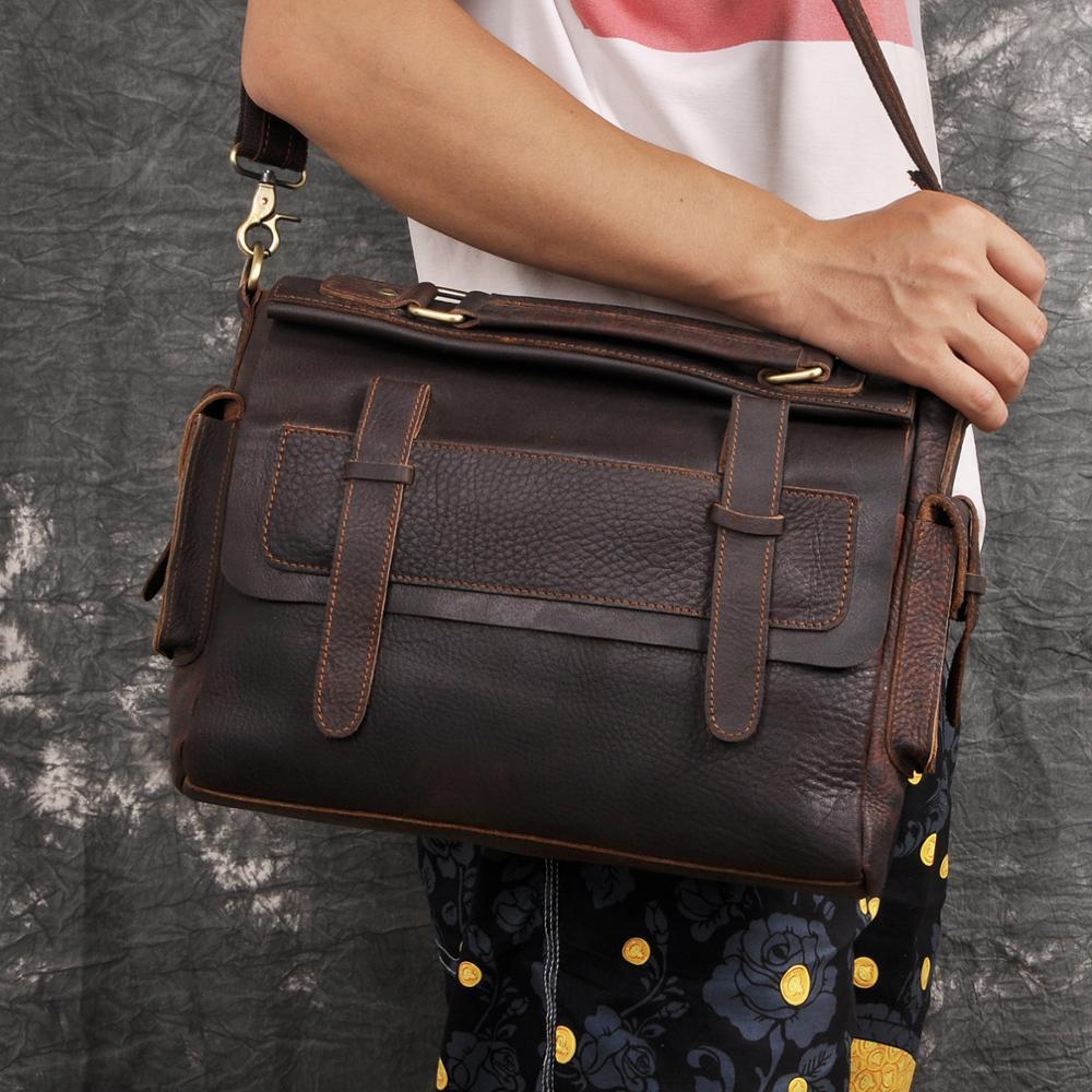 Men Quality Leather Antique Vintage Design Business Briefcase Laptop Bag Fashion Attache Messenger Bag Tote Portfolio