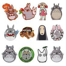 Cartoon Patches Stickers Ponyo No-Face Embroidery Applique Iron On Totoro 12PCS Anime
