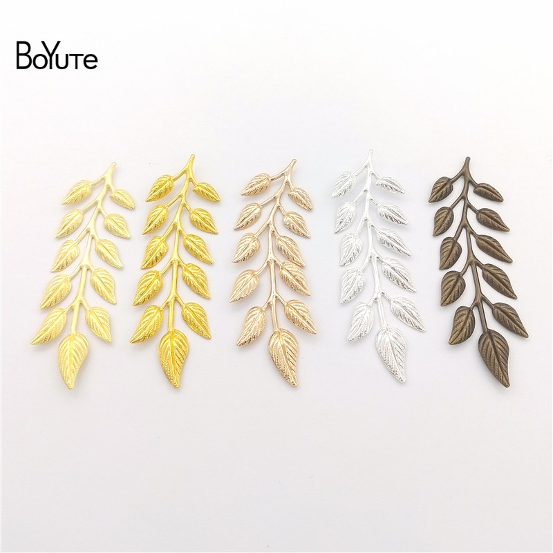 BoYuTe (100 Pieces/Lot) Metal Brass Stamping 19*64MM Olive Leaf Branch Jewelry Accessories Diy Hand Made Materials Wholesale