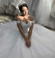 Роскошные свадебные платья с жемчугом 2021 фатиновое свадебное