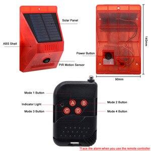 Image 3 - Инфракрасный детектор движения на солнечной батарее, новинка 2020 года, дистанционное управление, сирена, стробоскоп, сигнализация, водонепроницаемый 129dB громкий для дома и улицы