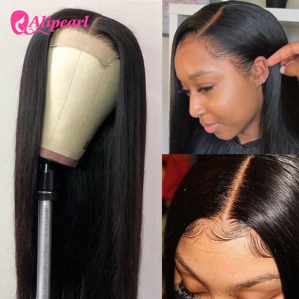 Парик для чернокожих женщин с жемчужинами Али, 4x4, перуанские прямые человеческие волосы с фронтальной застежкой, предварительно отобранны...