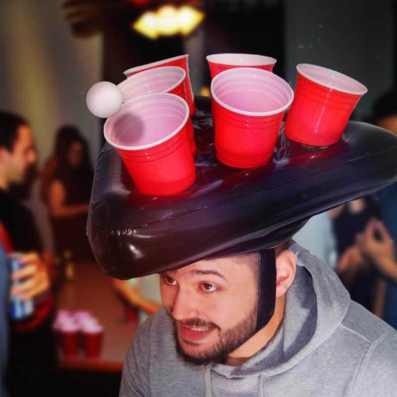 نفخ بونج البيرة القبعات قبعة خواتم إرم لعبة متعة الحديقة لعبة لعب رمي حلقة الكبار الاطفال الطويق أدوات عيد الميلاد هالوين الدعامة
