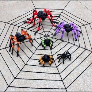Black Spider Halloween Decoration Haunted House Prop Indoor Outdoor Giant 300-900mm Spider Halloween Decoration 150cm Spider Web(China)