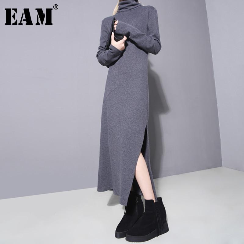 [EAM] 2019 New Autumn Winter High Collar Long Sleeve Black Hem High Vent Stitch Slim Loose Dress Women Fashion Tide  JO262