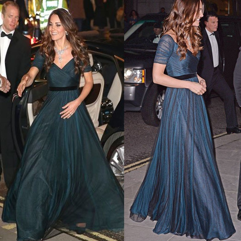 Kate Middleton Celebrity Dresses Navy Blue A Line Chiffon Formal Dress With Short Sleeves Elegant Evening Dress Long
