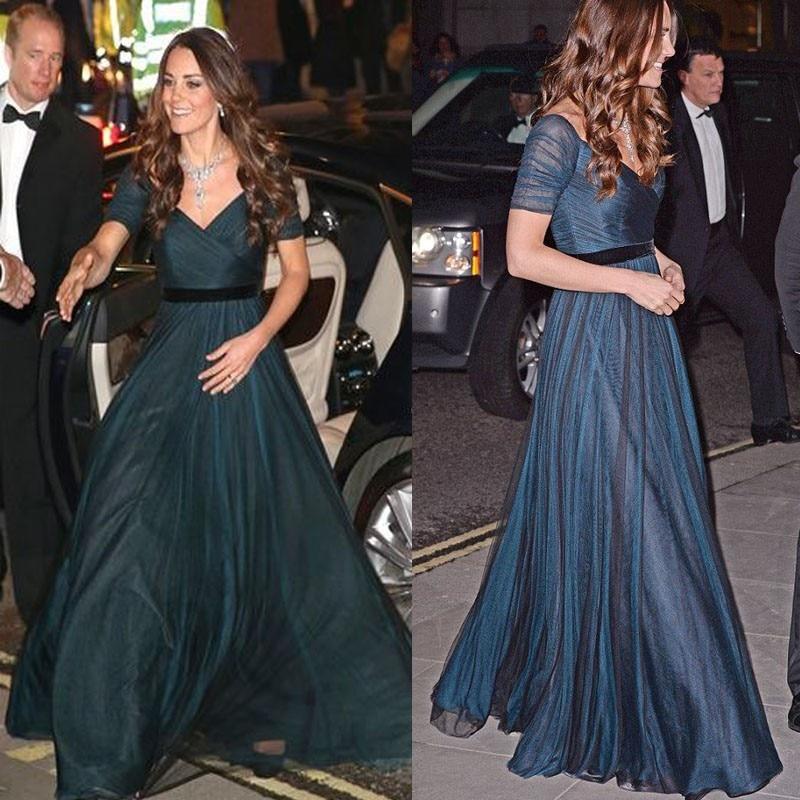 Kate Middleton Celebrity Dresses Navy Blue A Line Chiffon Formal Dress With Short Sleeves Elegant Evening Dress Long