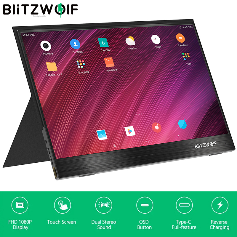 Blitzwolf tela de toque para smartphone, BW-PCM3 15.6, touch, fhd Polegada p, tipo c, computador portátil, display lcd para jogos, tela para smartphone e laptop
