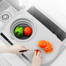 Kitchen Innovative Multi-Functional 3 in 1 Flexibl Silicone Chopping Board Detachable Folding Drain Basket Sink Telescopic food Cutting Tools  Stuff Collapsible Colander Set