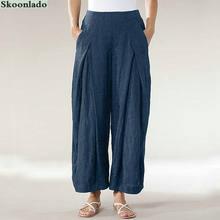 Новинка 2020 женские брюки из хлопка и льна модель 5xl большого