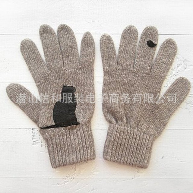 Cartoon Cat Knitted Gloves Women Winter Warm Outdoor Riding Thicken Printed Cold Proof Imitation Cashmere Pure Color Soft Gloves 6