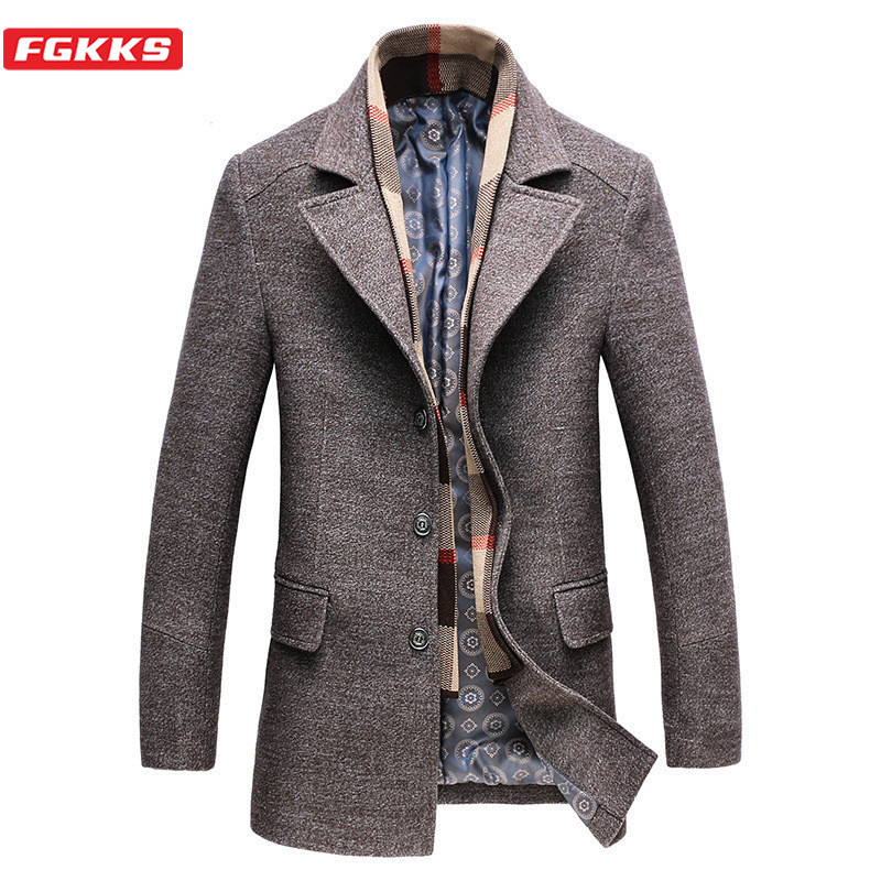 FGKKS Winter New Men Wool Blends Coat Men's Casual Thick Coat Male Solid Color Woolen Coats Brand Clothing (Removable Scarf)