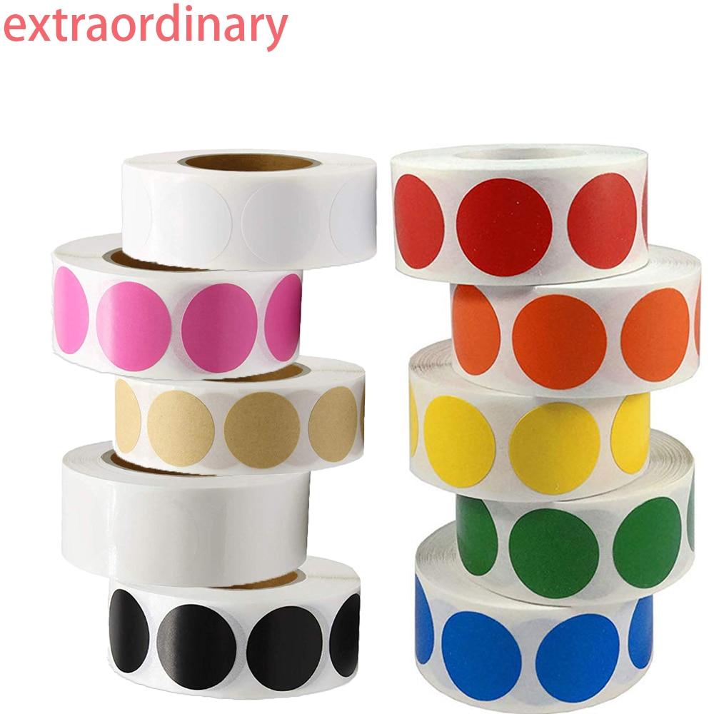 500 Pcs 1 Inch Blank Round Sticker Color Code Point Sticker Red Green Yellow Purple Orange Blue Black  White Stationery Sticker