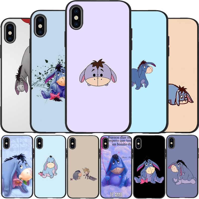 Bé Lừa Eeyore Lừa Eeyore Tặng Bao Da Silicone Mềm Đen Ốp Lưng Điện Thoại Iphone 5 5S SE 6 6 Plus 7 8 plus X XR XS Max 11 Pro Max