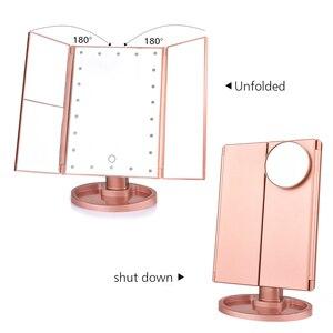 Image 3 - 22 LED 터치 스크린 메이크업 거울 1X 2X 3X 10X 돋보기 4 in 1 Tri Folded Desktop Mirror Lights 건강 미용 도구