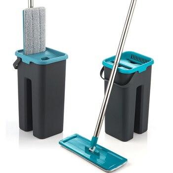 De apretar la fregona y el cubo de Manos libres retorciéndose limpieza de suelo mopa de microfibra almohadillas mojado o seco uso laminado de madera de