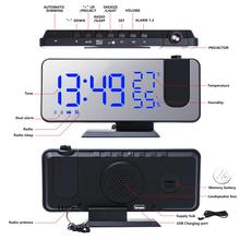 Alarm-Clock Desktop-Clocks Fm-Radio Digital Projector Time Electronic LED USB Snooze