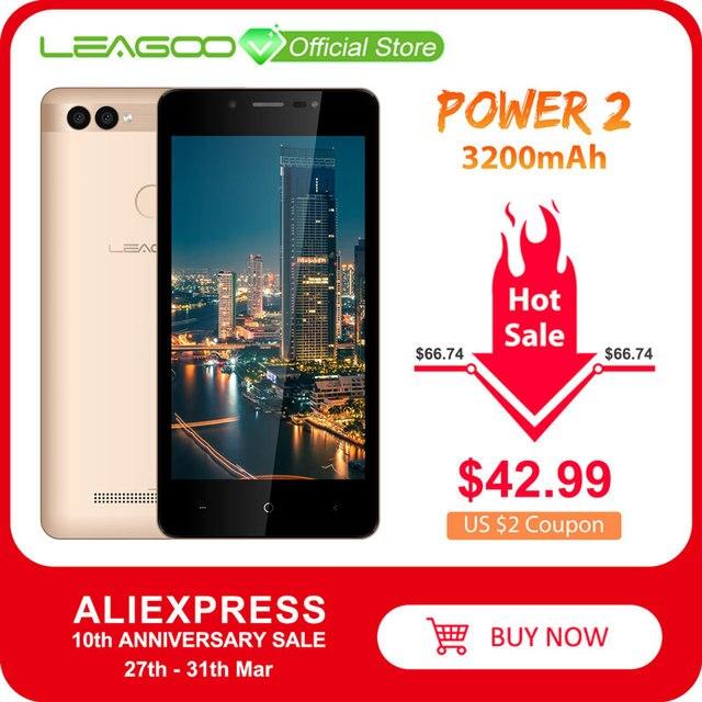 Мобильный телефон LEAGOO POWER 2, Android 8.1, 5 дюймовый экран HD IPS, 2 ГБ ОЗУ 16 ГБ ПЗУ, MT6580A четыре ядра, двойная камера, распознавание отпечатков пальцев, 3G смартфон