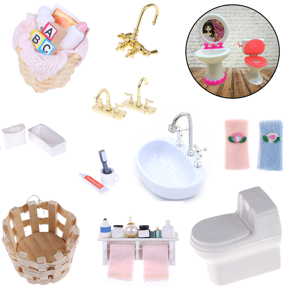 Towel Rack Shower Faucet Tissue Toothbrush Toothpaste Cup Baskets Hair Dryer 1/12 DIY Dollhouse Bathroom Furniture Accessories