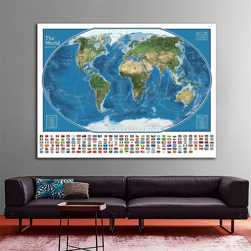 Mapa satelital del mundo con los cuerpos de agua más grandes y masas de tierra rango 150x100cm mundo adhesivo con diseño de mapa para pared con banderas nacionales 34 x LED Canbus lámpara para reposapiés bombillas + interior de luz de mapa Kit para VW Volkswagen T4 T5 T6 Multivan Caravelle transportador