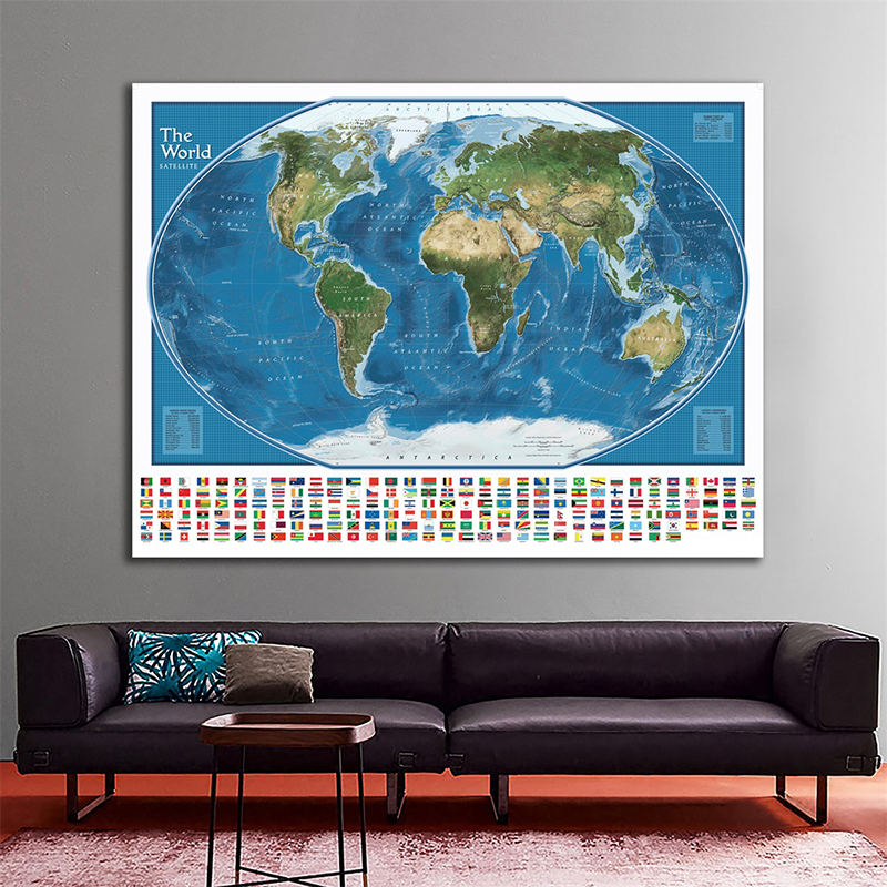 The World Satellite Map With The Largest Water Bodies And Landmasses Rank 150x100cm World Map Wall Sticker With National Flags