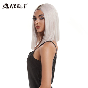 Image 2 - Noble Cosplay Synthetic Lace Front Wig Short Bob Straight 14 Inch Pink Lace Front Blonde Wigs Lace front Wigs For Black Women