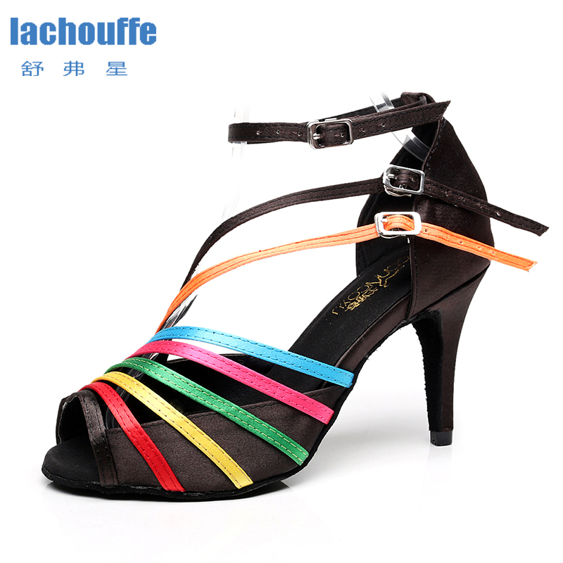 Women Latino Dance Shoes For Gilrs Color Stripe Ballroom Tango Dancing Shoes Woman High Heeled Party Shoes Dancing Salsa Bachata