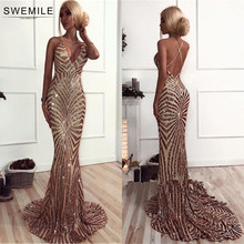 Sexy Criss-Cross Back Mermaid Evening Dress 2019 Glittering Sequin V Neck Prom Gowns Golden Long Party Dresses Vestido De Festa white suede criss cross back mini slip dress