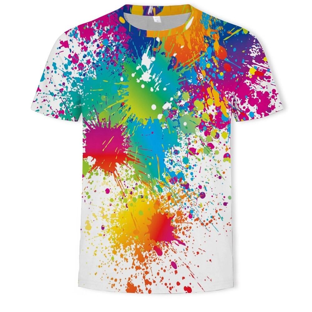 2020 Забавный арт футболка унисекс с принтом цветов футболка 3d футболка с абстрактным рисунком краски футболка с узором в стиле граффити