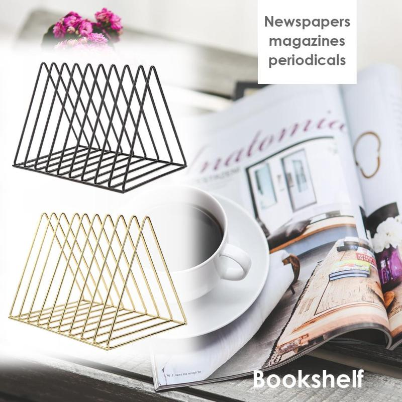 Classic Nordic Style Triangle Simple Wrought Iron Book Shelves Iron Spray Paint Material Wear Resistance Desktop Storage Rack