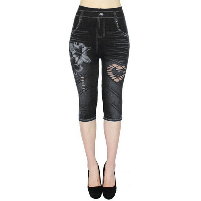 2019 Women's   Leggings   Jeans Low Waist Printed Outwears Look Printed Stretch CapriPants Autumn Winter Casual Fitness   Leggings