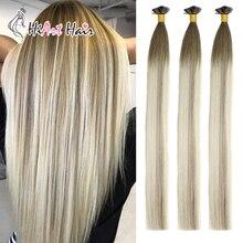 HiArt 0,5 г, накладные волосы на плоских кончиках, человеческие волосы для салона, двойные накладные волосы, прямые волосы