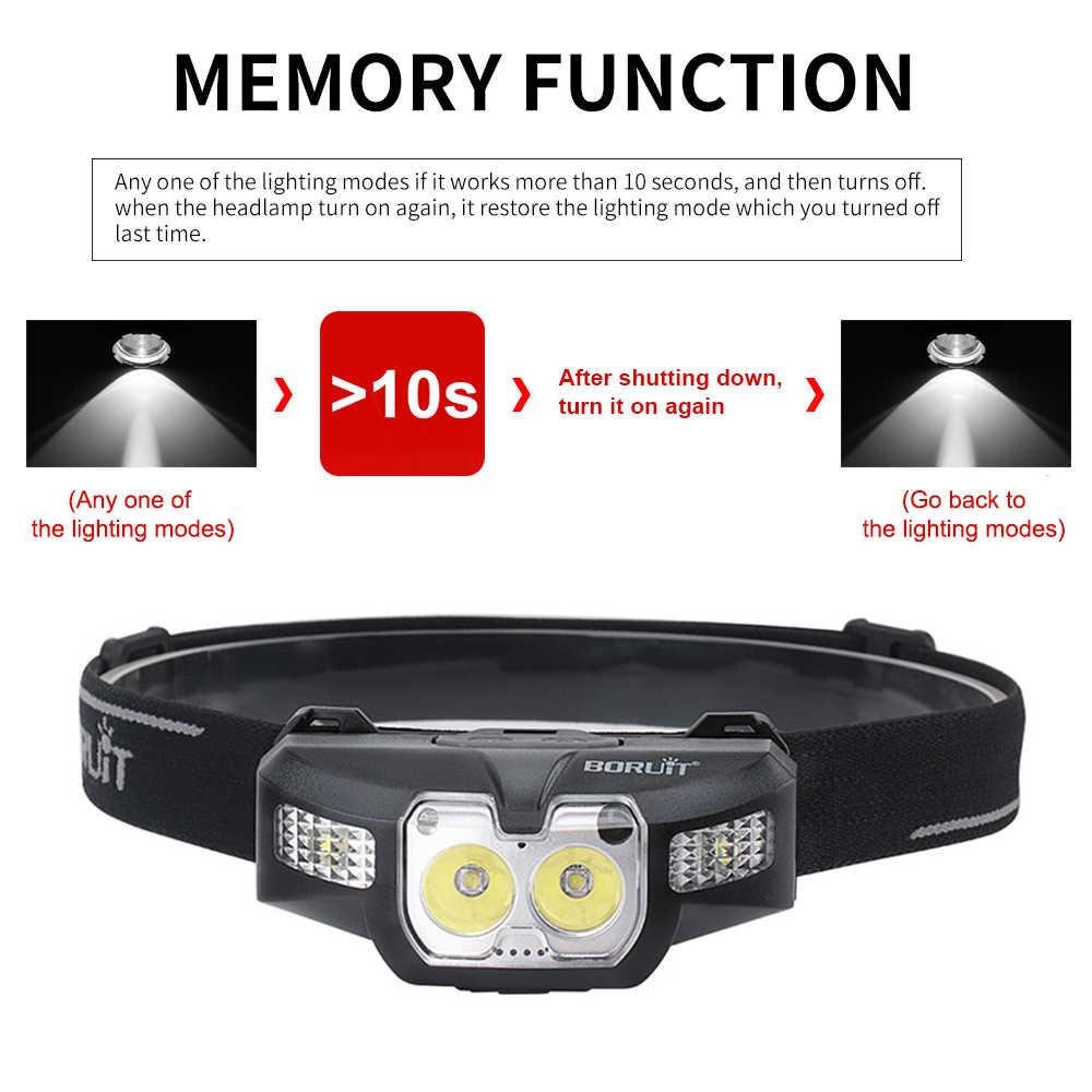 BORUiT B30 LED IR חיישן תנועת מיני פנס 2 * XP-G2 + 2*3030 אדום 5- מצב פנס נטענת ראש לפיד ציד אור