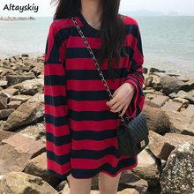 Tees Frauen Rot Gestreiften Lose Herbst 2020 Alle-spiel Trendy Casual Langarm Dame Kleidung Hochschule Tops Komfortable Koreanischen stil