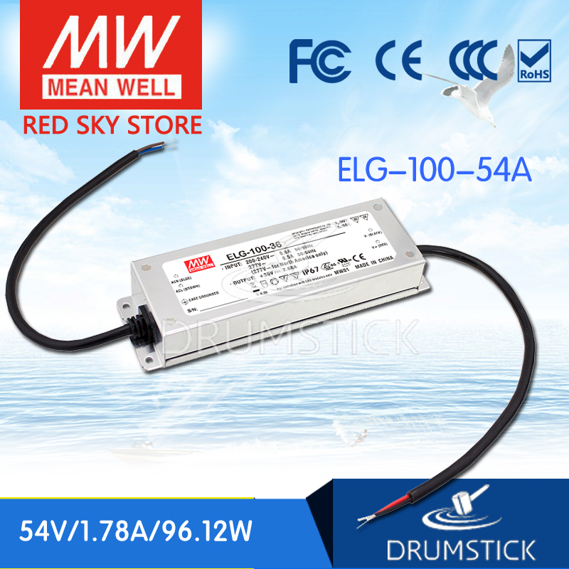 nice MEAN WELL 2Pack ELG-100-54A-3Y 54V 1.78A meanwell ELG-100 54V 96.12W Single Output LED Driver Power Supply A type