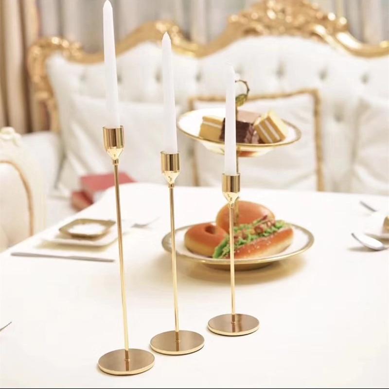 3 Pcs/ Set  European Metal Candle Holder Simple Golden Wedding Decoration Bar Party Living Room Decoration Home Decoration