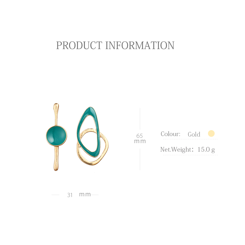 Yhpup Charm Fashion Green Enamel Asymmetry Geometric Stud Earrings Vintage Zinc Alloy Gold Earrings Women Party Jewelry Bijoux