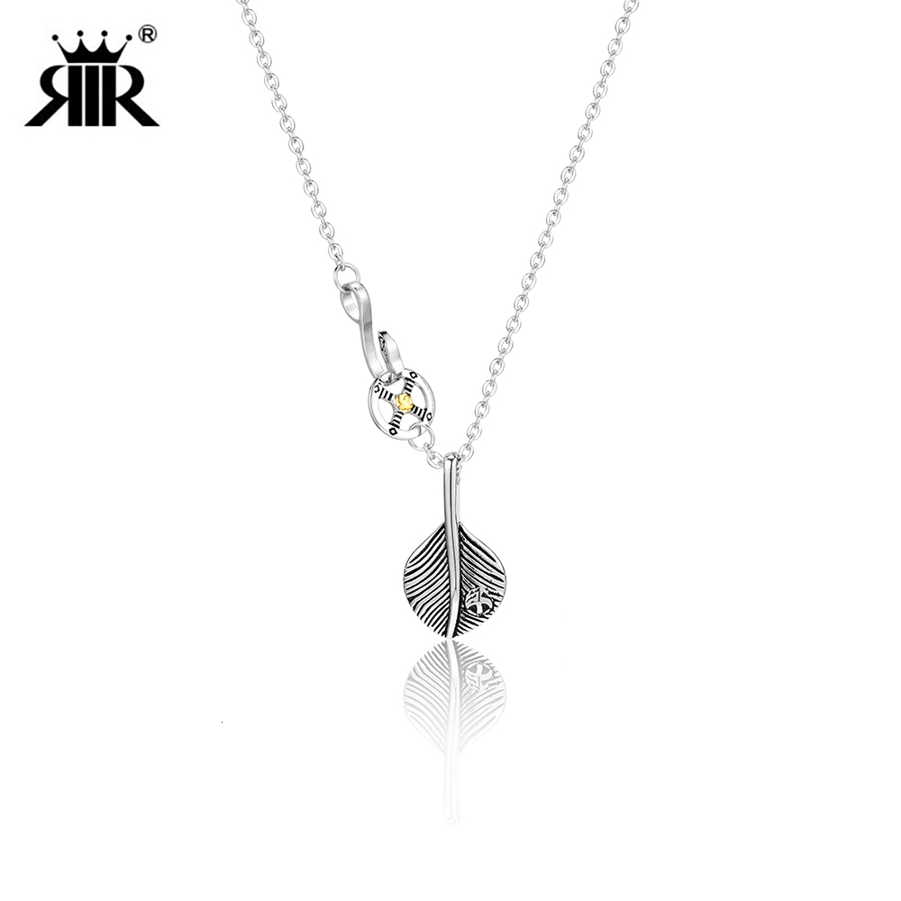 RIR Retro Style Eagle Feather Charm Pendant Necklace Feather Tribe Creative Chain Simple Necklace Gift For Friends image