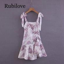 Rubilove Sexy Summer Dress Women Bow Tie Shoulder Strap Floral Print Chiffon Dress Lady Square Collar Draped Ruffle Dress Mini v kids floral print bow tie cami dress