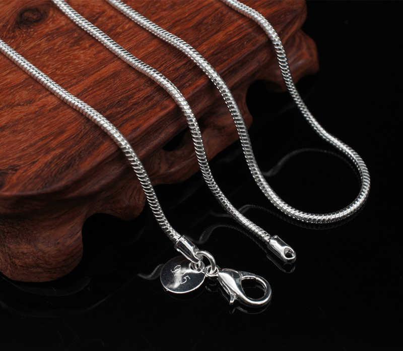 """Link """" pokaż dane kontaktowe """"certyfikat! 16-24 cal (40-60 cm) 100% oryginalny litego srebra próby 925 Chokers naszyjniki 2mm wąż naszyjnik łańcuszkowy dla kobiet XL002"""