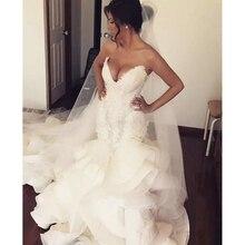 Lüks Dubai gelinlik Vestido De Noiva casamento Mermaid gelinlik kapalı omuz robe de mariee gelinlikler Peplum