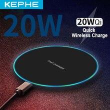 Chargeur sans fil qi 20W, charge rapide sans fil pour iPhone 11, 12, X, XR, XS Max, 8, Samsung, Xiaomi, Huawei