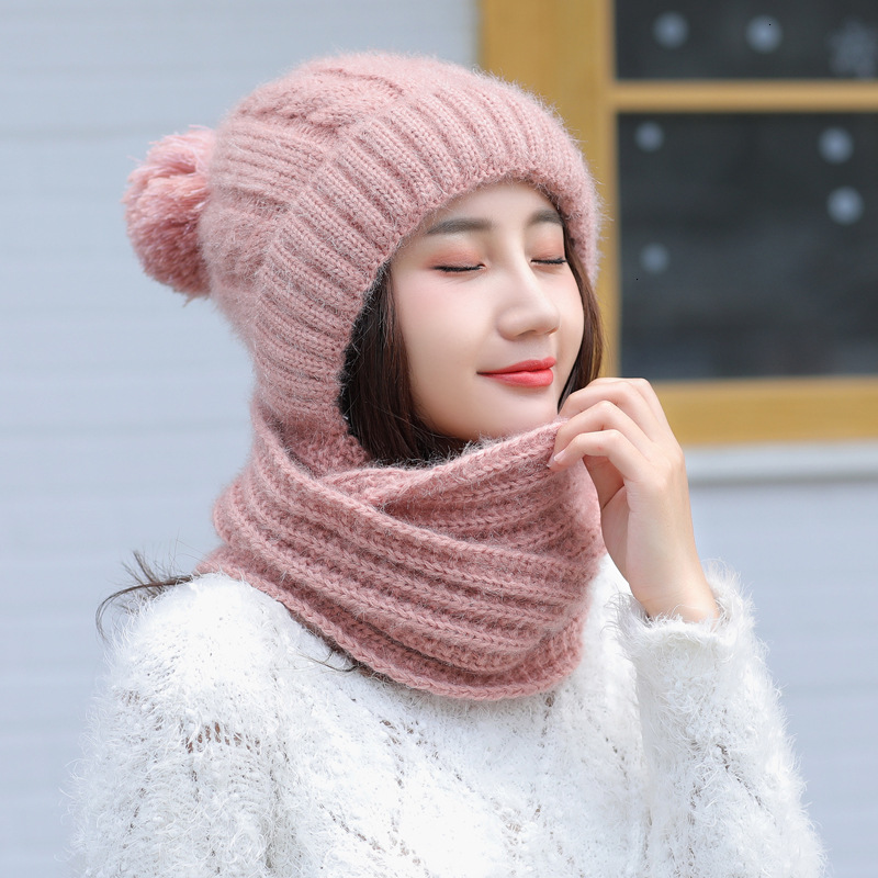 Limited Promo  Knitted Wool Warm Scarf Thick Windproof Multi Functional Hat Autumn Winter Women's Hat Caps Scarf S