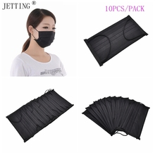 10pcs Disposable 4Layer Black Medical Non Woven Activated Carbon Anti-Dust&fog&bacteria&PM2.5 thin section breathable Face Masks