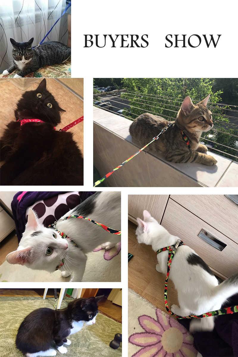 猫犬首輪ハーネスリーシュ調整可能なナイロン牽引猫子猫ホルター襟ガトー猫製品ペットハーネスベルト