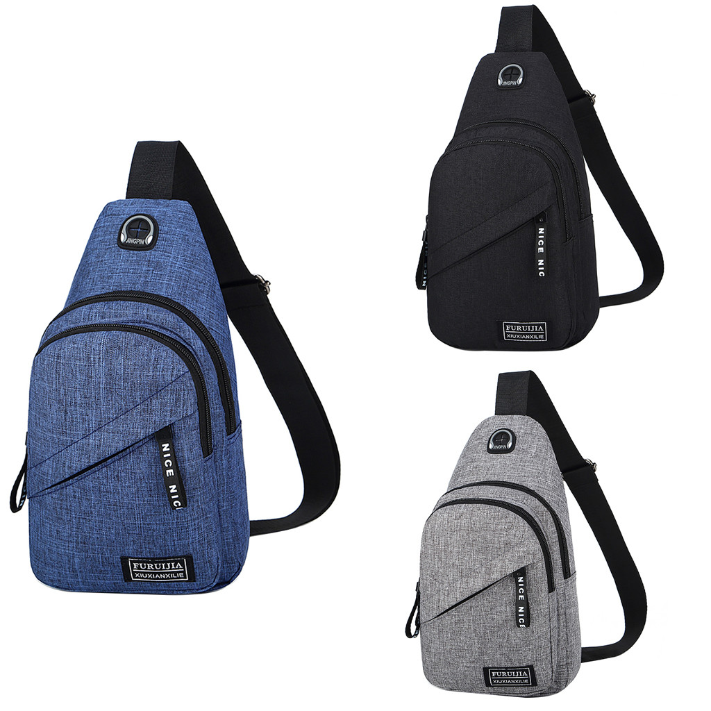 Fashion Waist Bag Men Oxford Cloth Badge Chest Bag Wild Small Bag Fashion Pockets Travel Portable Bags Chestbags