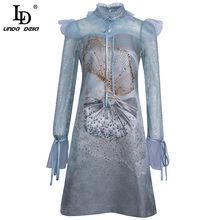 LD LINDA DELLA 2021 Summer Runway abito Vintage donna elegante pizzo manica lunga volant splendido abito Jacquard corto con stampa di perline